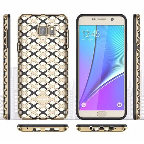 Samsung Note 5 Gold and Black Back Case Cover made with TPU + PC - Hybrid Design