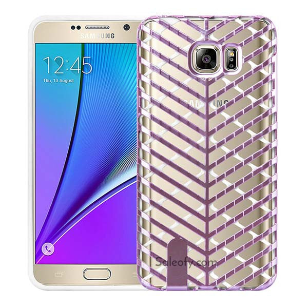 Samsung Note 5 Pink and White Back Case Cover made with TPU + PC - Hybrid Design