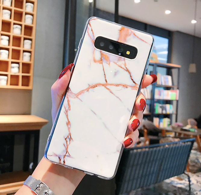 Luxury Marble Design Glass Black Marble Case For Galaxy S10 Plus