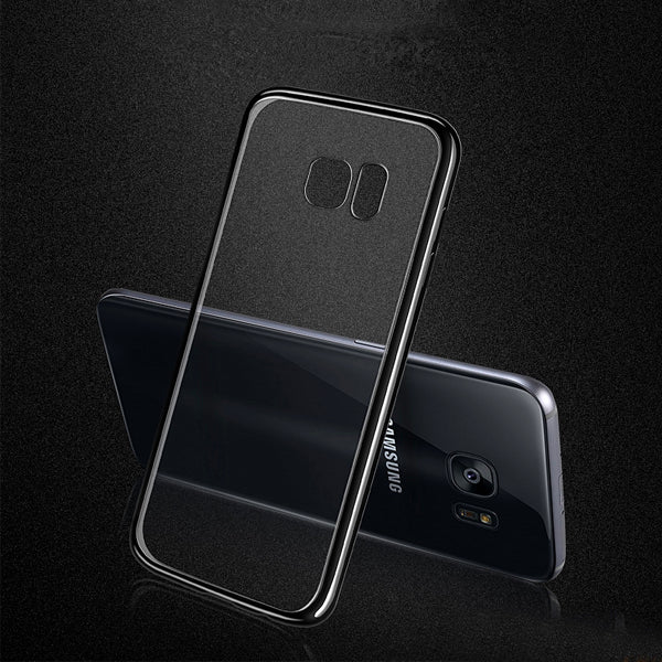 Black Luxury Platinum Transparent Back Case S7 Edge