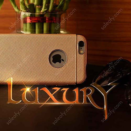"iPhone 6S+/6+ Plus Gold Luxury Design Protective Case with Metallic Logo Display for Apple [5.5""]"