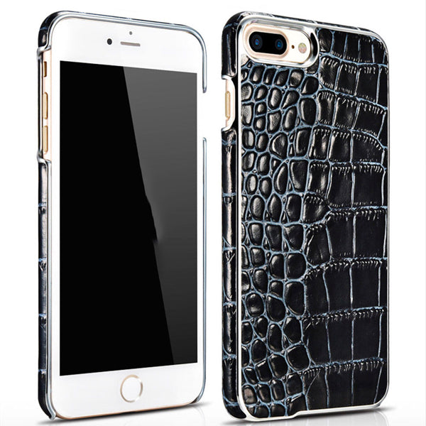 iPhone 8+ Plus Electroplating Alligator Embossed Genuine Back Case Cover - Black