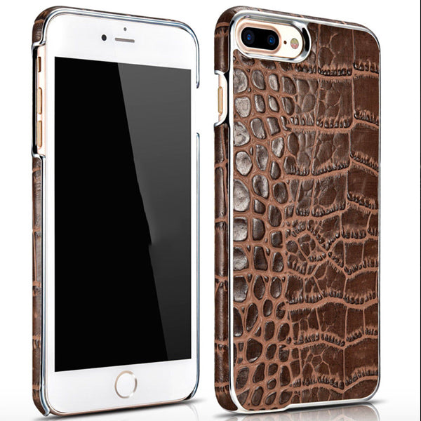 iPhone 8+ Plus Electroplating Alligator Embossed Genuine Back Case Cover - Brown