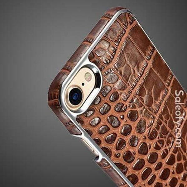 iPhone 8 Electroplating Alligator Embossed  Back Case Cover - Brown