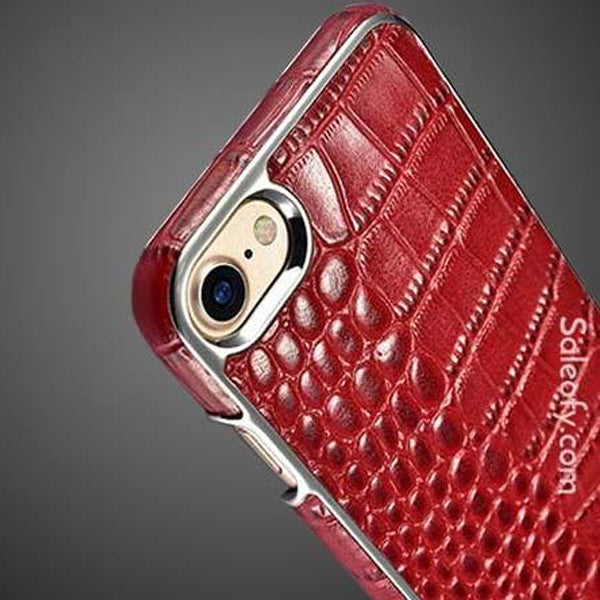 iPhone 8 Electroplating Alligator Embossed Genuine Back Case Cover - Red
