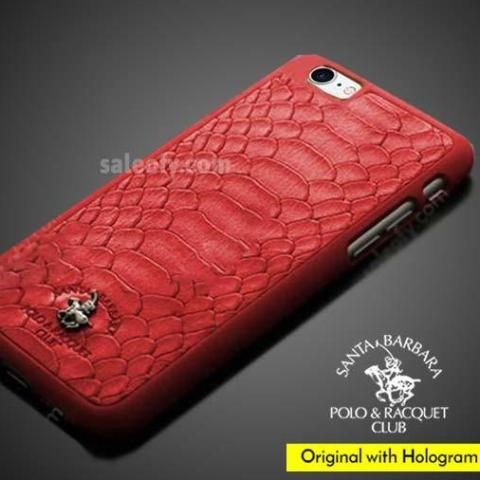 iPhone 7 Leather Jockey PC Case Cover for Apple - Red Pure Leather Textured Back Case Cover