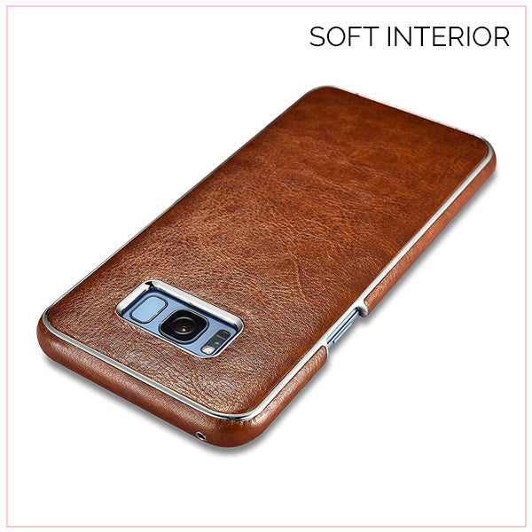 S8 Plus Platinum Brown Leather Electroplating Cover Case