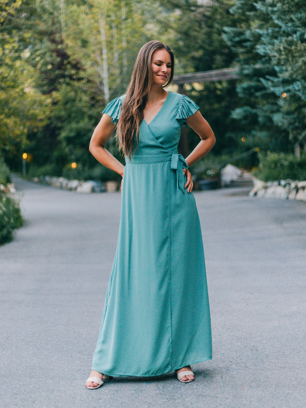 Elena Ruffle Sleeve Maxi Dress in Teal