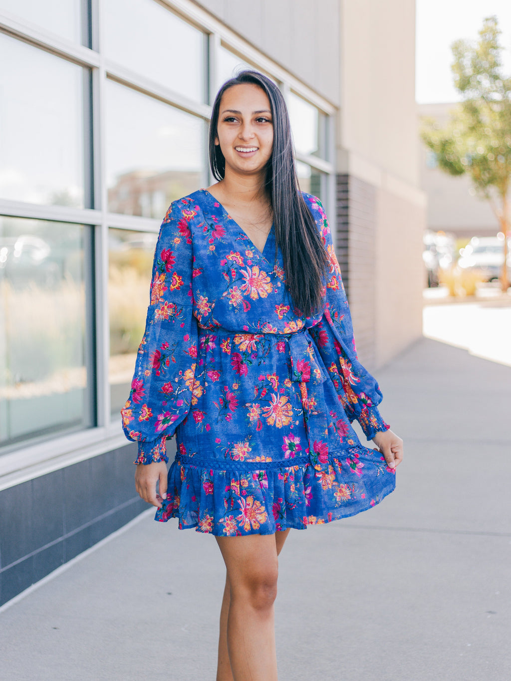 Majestic Floral Dress in Royal Blue