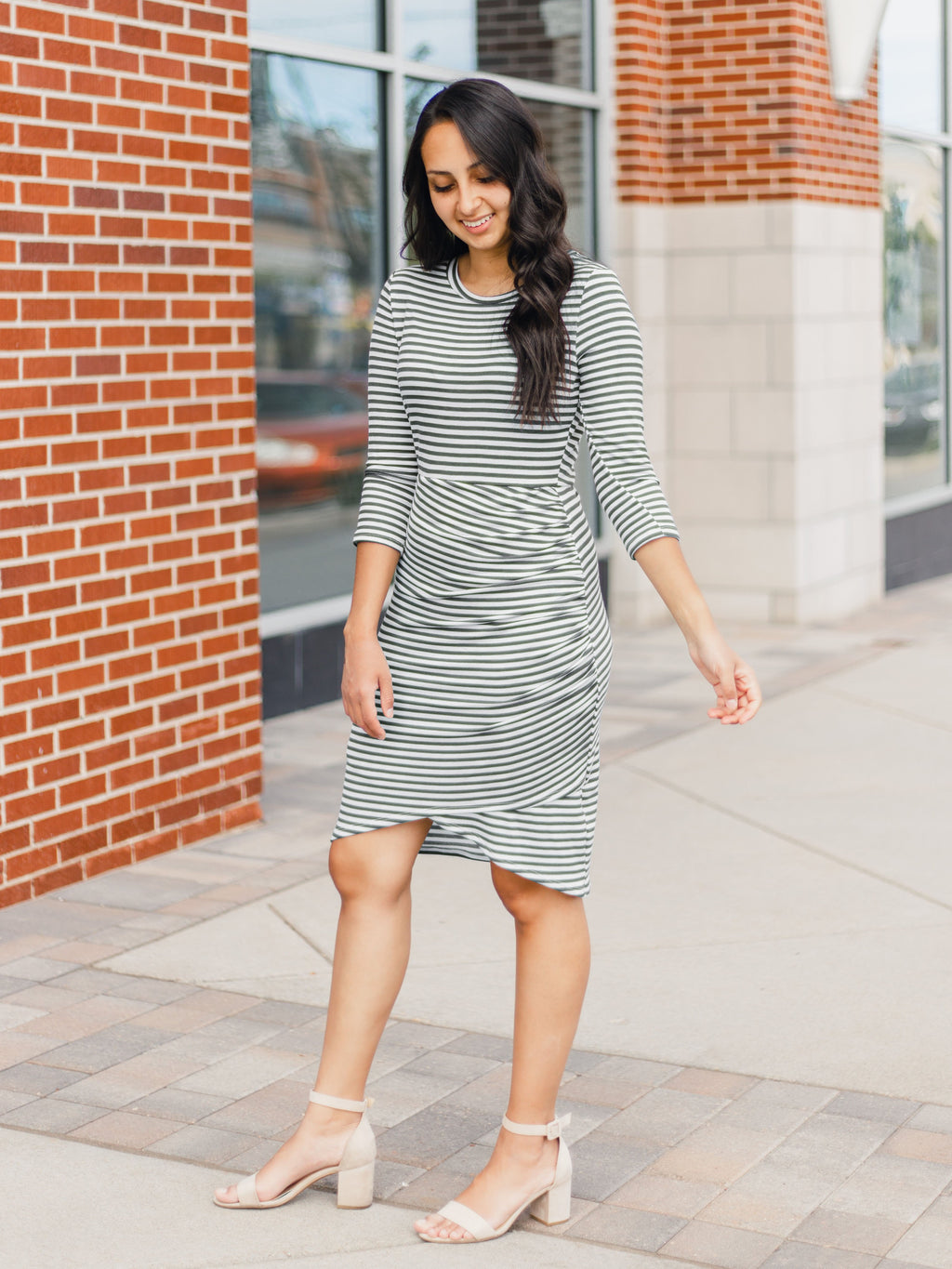 Savannah Striped Wrap Dress in Olive