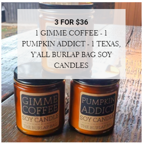 Great deal on all natural soy candles by The Burlap Bag!