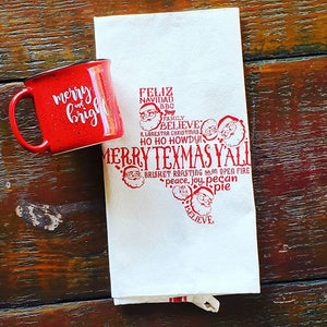 Gift family and friends to The Merry Texmas, Y'all Holiday Box this holiday season. This very cool box includes a lovely 'Merry and Bright' red campfire mug15oz Red Ceramic Campfire Mug (not enamel or metal) and a gorgeous Merry Texmas, Y'all! tea towel.