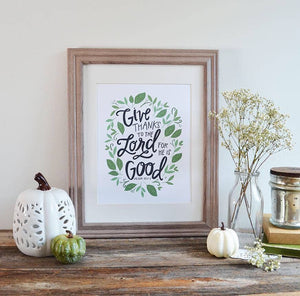 Give Thanks - Art Print, Fall Decor, Seasonal Artwork, 8x10