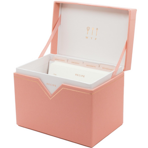 From breakfast to dessert, the lovely SMTWTFS Recipe Box in Coral Pink by Los Angeles-based Hadron Epoch will help bring your ingredients to life! Includes 50 recipe cards with prep time, cook time, serving quantity, and ingredient and notes sections.