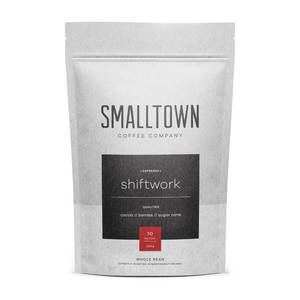 Shiftwork Espresso by Smalltown Coffee Company - An espresso blend. Great in in your Espresso Machine, AeroPress, Pour-Over or other preferred Brew Method