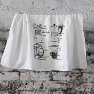 "Coffee Tea Towel by Girls Can Tell - Four classic coffee makers - pour over, moka, French press and a chemex -  each drawn, labeled + screen-printed onto washable lint-free floursack cotton kitchen towels. Each 100% towel measures approximately 26 "" x 26"". Milled + printed in the US on natural, white cotton."