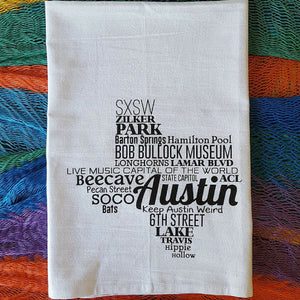 This lovely Austin, Texas Tea Towel list well-known locales and landmarks in the State's capital. A trip to these spots should be on your #TexasToDo !