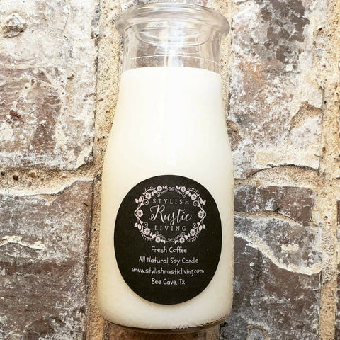 Stylish Rustic Living Fresh Coffee Milk Jar Soy Candle - 16 Oz