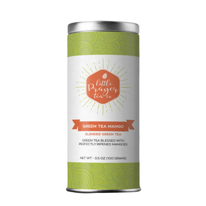 Green Tea Mango Loose Leaf Black Tea  — Created by the Little Prayer Tea Company, the delicate sweet fragrance of ripened mangos draws you in for a smooth and tasty green tea experience. It's a match made in heaven. A wonderful tea to enjoy hot or iced.