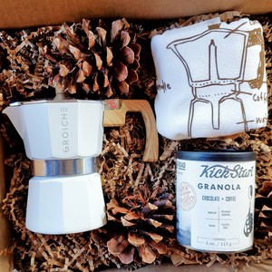 The Holiday Espresso Box features the fantastic Milano Stovetop Espresso Maker (3 cup), Chocolate + Coffee Granola, and a lovely Coffee Tea Towel. All coffee-inspired products that are sure to delight the coffee lovers in your life this holiday season! Gift someone to this lovely gift box or treat yourself!
