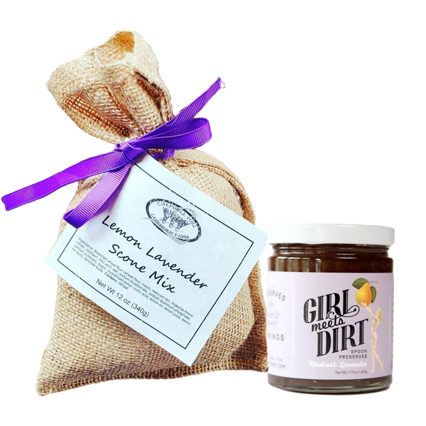 Here's a wonderful lavender-inspired duo! Lemon Lavender Scone Mix by Chappell Hill Lavender Farm and Rhubarb Lavender Spoon Preserves by Girl Meets Dirt.