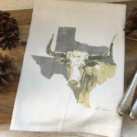 Rainy Day Illustrations Texas Longhorn Flour Sack Towel