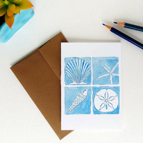 "Island of Blue Beach Notecards, Coastal Seashells - Set of Eight (3 1/2"" X 5"")"