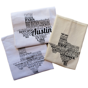 The Matilda gift box includes three lovely Texas tea towels. Two listing well-known locales and landmarks in the The Great State of Texas and the State Capitol. A trip to these spots should be on your #TexasToDo ! And the third listing only those wines produced by Texas vineyards.