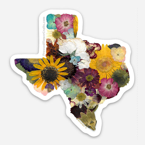 Pressed Flower Crafts Texas Sticker