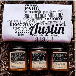 The Texas Housewarming Box is filled with a beautiful tea towel perfect to accent any kitchen and wonderfully soy scented candles that will bring fantastic scents to the home. This gift box is also a perfect gift for anniversaries, birthdays, and so many more special occasions.