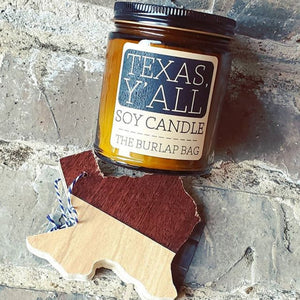 The Burlap Bag TEXAS, Y'ALL 9 oz Soy Candle - Cool Beans Box