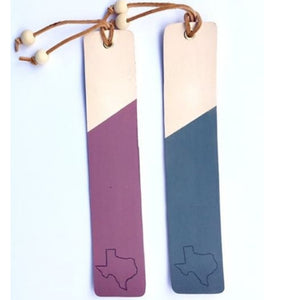 Q Thirty Two Painted Leather Bookmark with Texas Stamp - Cool Beans Box