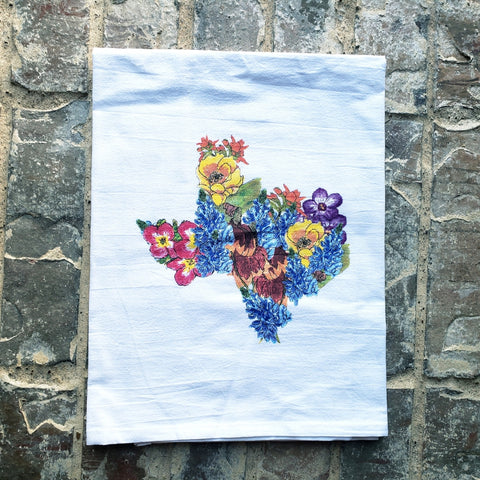 Turquoise Tulip Texas Wildflower Tea Towel