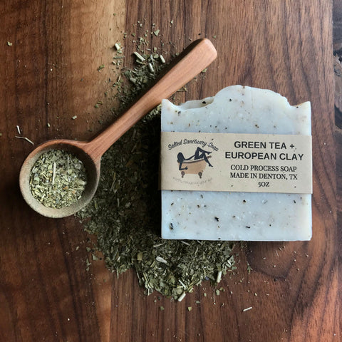 Salted Sanctuary Green Tea + European Clay Cold Process Soap 5 oz.