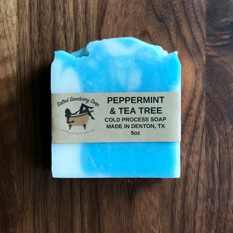 Salted Sanctuary Peppermint & Tea Trea Cold Process Soap Bar 5 oz.