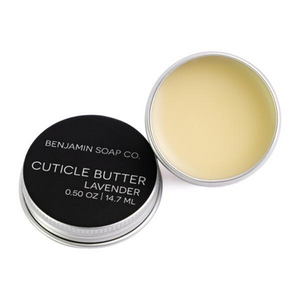 Presenting the all-natural Lavender Cuticle Butter by Austin-based, Benjamin Soap Co.. This amazing butter is hand poured and made with only 6 ingredients, from plant based oils, local beeswax and essential oils. Contains: organic coconut oil, shea butter, jojoba oil, vitamin e, beeswax, and essential oils. Apply to cuticles and around fingers as needed to moisturize dry skin.