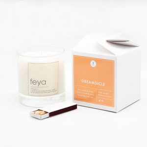 Presenting the Dreamsicle 6.5 oz All-Natural Soy Candle by Feya Candles.  Remember those days of chasing down the ice cream truck with mom's dollar bills, the moment you sink your teeth in to that orange-creamsicle and everything is perfect?? Yeah. It's like that.
