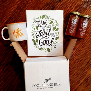 The Celebrate Fall Box is filled with four wonderful products to celebrate the gorgeous autumn season. A gorgeous mug, a lovely art print, and two delicious butters. WHAT'S NOT TO LOVE! Treat yourself, family, friends, clients, or whomever to this fantastic Cool Beans Box