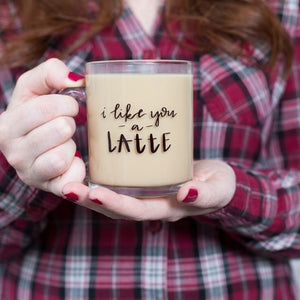 "Fresh Out of Ink ""I Like You A Latte"" 10 oz Glass Coffee Mug - Cool Beans Box"