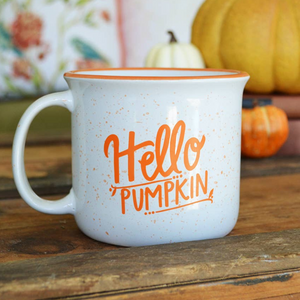 "This 'Hello Pumpkin"" mug is a sturdy ceramic stoneware mug with glossy finish + 15 oz + dishwasher and microwave safe + hand-lettered design + double sided artwork/lettering"