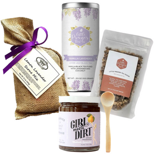 The Lavender Morning gift box is filled with all things lavender. Perfect gift for anniversaries, birthdays, clients and so many more life's celebrations. Or just because or just for you!   This Cool Beans Box includes....  Vanilla Lavender Loose Leaf Black Tea 3.5 oz by Little Prayer Tea Co. Lemon Lavender Scone Mix by Chappell Hill Lavender Farm Rhubarb Lavender Spoon Preserve 7.75 oz by Girl Meets Girl