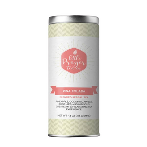Created by the Little Prayer Tea Company, the name says it all — this blend of pineapple, coconut, apples, rose hips and hibiscus creates an exotic and intoxicating tea experience. The sweetness of the apples and coconut balances well with the tartness of the pineapple and hibiscus.