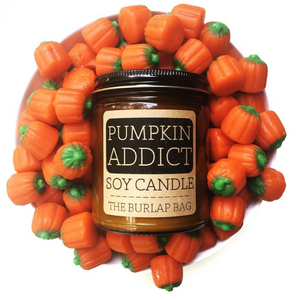Pumpkin addict - a favorite scent of many with some sweet and slightly spiced pumpkin. We're addicted, are you?   Each candle is in a 9oz amber glass jar with a black metal lid. They have a 70+ hour burn time and are made from all natural US soy beans. They are hand poured in Austin, Texas in small batches to ensure quality.