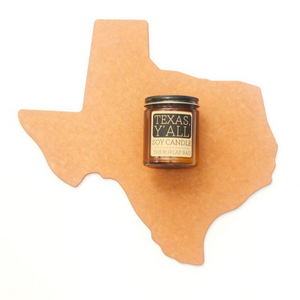 Texas, y'all! This is the smell of SWEET ICED TEA, of course!   Each candle is in a 9oz amber glass jar with a black metal lid. They have a 70+ hour burn time and are made from all natural US soy beans. They are hand poured in Austin, Texas in small batches to ensure quality.