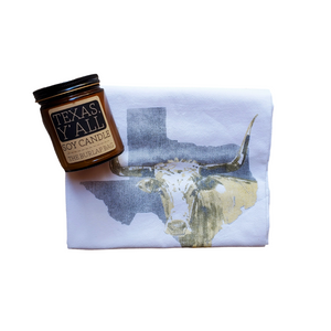 The Texas Y'all gift set includes a wonderfully all-natural soy candle and a lovely Texas-themed tea towel. A perfect gift for new homeowners, newlyweds, clients, teachers, family, friends, or just for yourself! This gift gift is definitely a perfect way to add some Texas flair to any home.