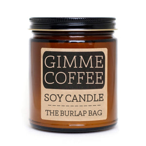 GIMME COFFEE All-Natural Soy Candle by Austin-based, The Burlap Bag. This candle will make your home smell like an espresso with a tad bit of sugar and cream. Each candle is in a 9oz amber glass jar with a black metal lid. They have a 70+ hour burn time and are made from all natural US soy beans.