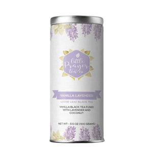 Vanilla Lavender Loose Leaf Black Tea  — Created by the Little Prayer Tea Company, enjoy an invigorating afternoon boost with our elegant vanilla lavender tea. This black tea blend features an array of exotic and comforting flavors derived from lavender, natural vanilla, and coconut. Feel free to leave your pinky in the air as you sip this treat!