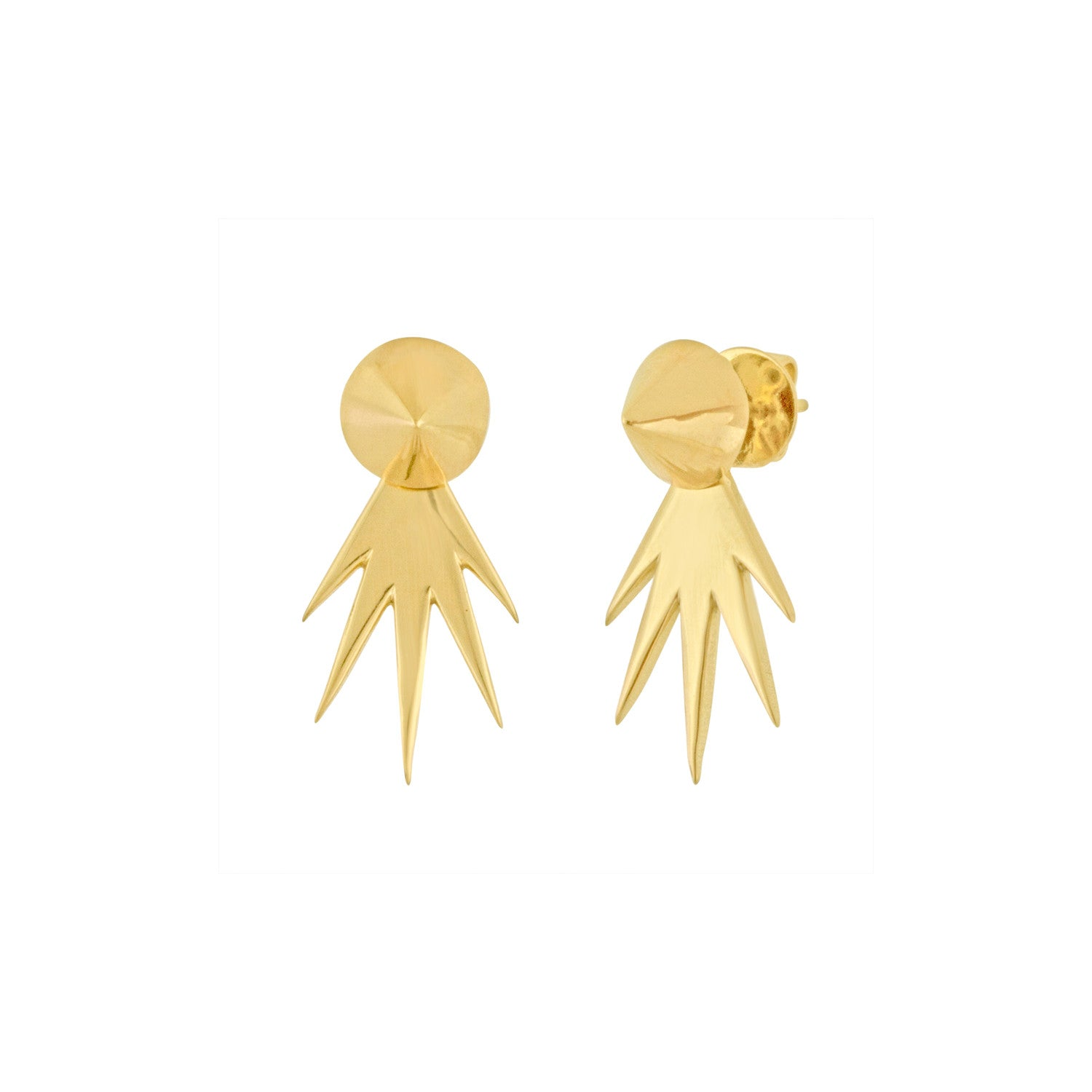 Gold Cone and Spike Earrings