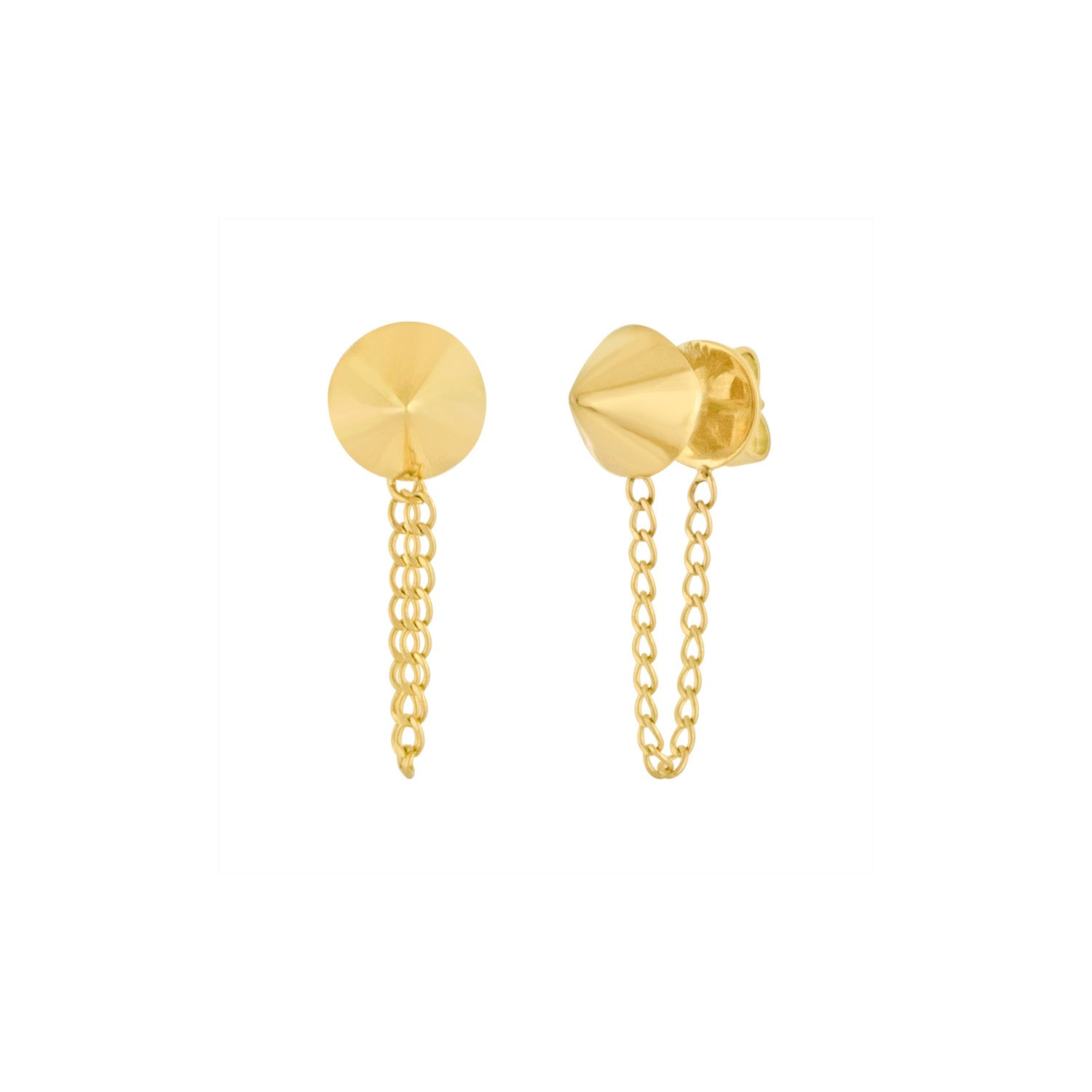 Gold Cone and Chain Earrings