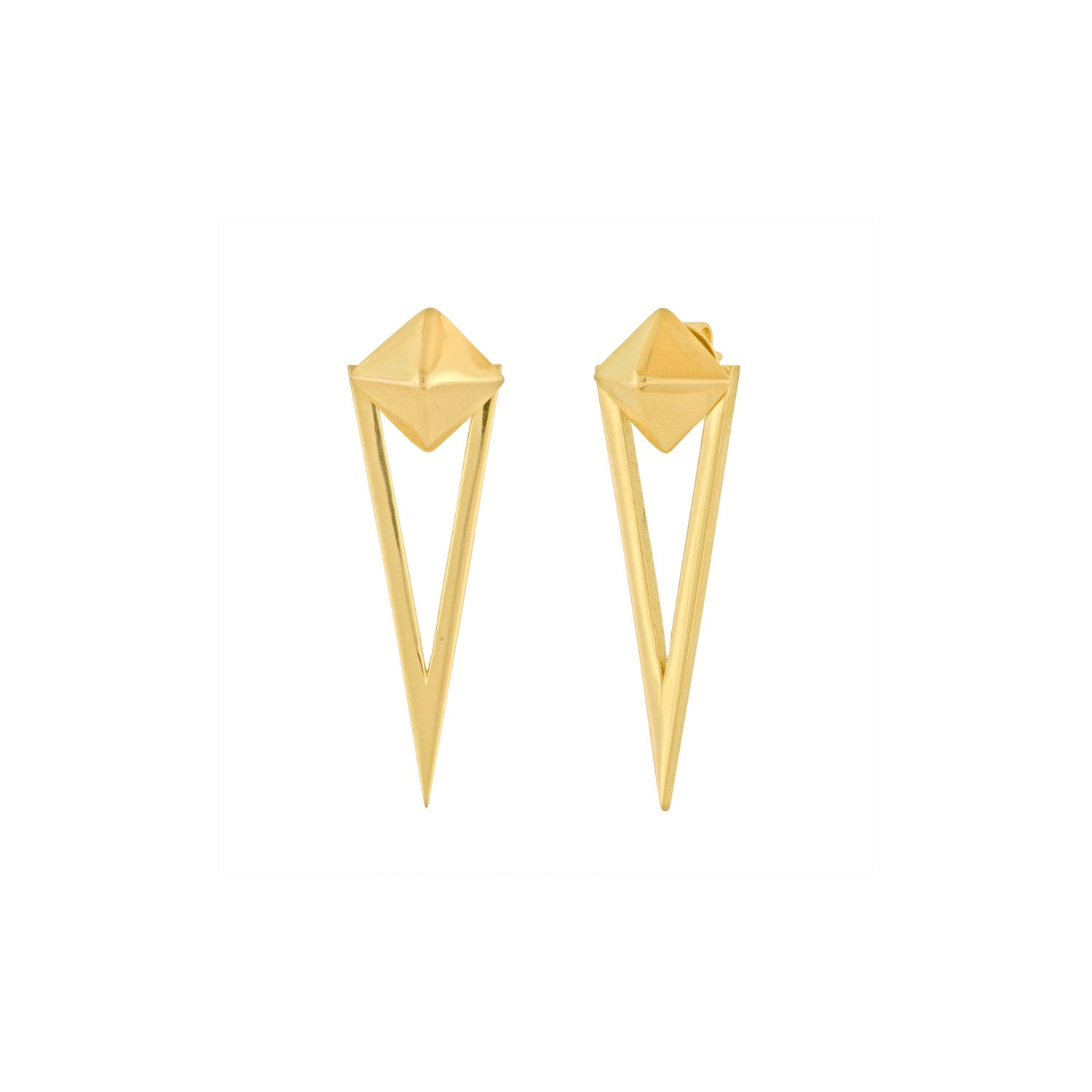 Gold Pyramid and Triangle Earrings